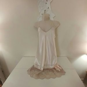 Vintage 80s satin and lace chemise nightie